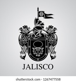 Silhouette of Jalisco Coat of Arms. Mexican State. Vector illustration