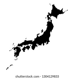 Silhouette of Japan map. Black and white vector illustration of island country