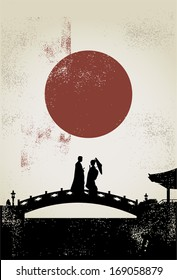 Silhouette of Japanese couple on the bridge, vector