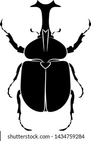 Silhouette of a Japanese horned beetle. Graphic drawing. Vector.
