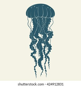 Silhouette of jellyfish. Template for logos, labels and emblems. Vector illustration