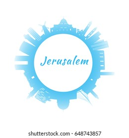 Silhouette Jerusalem Skyline with Blue Buildings. Image for Presentation Banner Placard and Web Site. Circle style. Vector illustration.