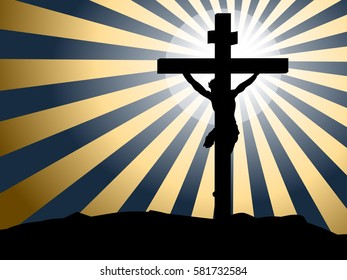Silhouette of Jesus crucifixion against rays of light background
