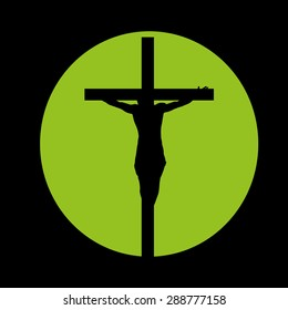 silhouette Jesus on crucifix on green circle