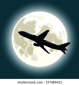 A silhouette of a jet in front of the full moon.