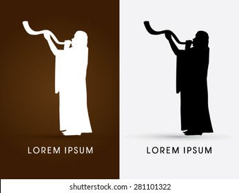 Silhouette, Jew blowing the shofar , graphic vector.