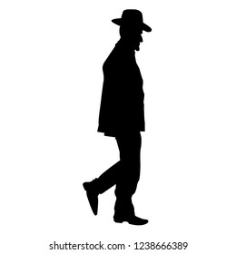 Silhouette of a Jew in a hat. Chassid is coming. Orthodoxy is a Jew. Isolated vector illustration. Isolated background. Black on white.