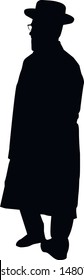 Silhouette of a Jew. Jew in a hat. Religious Jews in a traditional costume. Hasid with sidelocks in a long frock coat. Isolated vector illustration. Black on white.