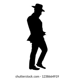 Silhouette of a Jew in a hat. The return of Hasid. Orthodoxy is a Jew. Isolated vector illustration. Isolated background. Black on white.