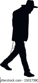 Silhouette of a Jew with his head bowed. Hasid is a religious Jew in traditional clothing. The man in the hat. Jew in tzitzit and talit katan. Isolated vector illustration. Black on white.