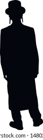 Silhouette of a jew man. The man is waiting. Religious Jew in a traditional costume. Hasid with sidelocks. A man in a hat and a long coat. Isolated vector illustration. Black on white.