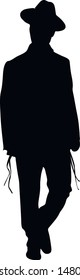 Silhouette of a Jew. Religious man in a hat. Religious Jews in a traditional costume. Hasid with sidelocks in a long frock coat. Isolated vector illustration. Black on white.