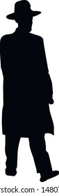 Silhouette of a Jew. Running man in a hat. Religious Jews in a traditional costume. Hasid with sidelocks in a long frock coat. Isolated vector illustration. Black on white.