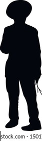 Silhouette of a Jew standing with his back. Hasid is a religious Jew in traditional clothing. The man in the hat. Jew in tzitzit and talit katan. Isolated vector illustration. Black on white.