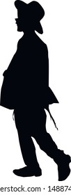 Silhouette of a Jewish man. Religious Jew walking in Jerusalem. The man in the hat. Young Jew Hasid in a hat. Isolated vector illustration Black on white.