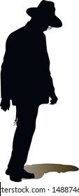 Silhouette of a Jewish man. Religious Jew with his head bowed. The man in the hat. Young Jew Hasid in a hat. Isolated vector illustration Black on white.