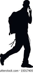 Silhouette of a jewish soldier. Hasid is a religious Jew in traditional clothing. The man in the hat. Jew in tzitzit and talit katan. Isolated vector illustration. Black on white.
