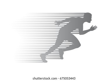 Silhouette of jogger on finish. Athletic running man in movement on white background. Sport lifestyle colourless vector illustration. Motion movement logotype in cartoon style flat design