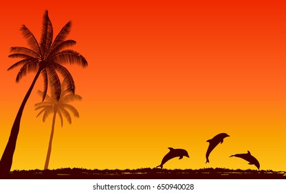 Silhouette jumping dolphin and palm tree in flat icon design with sunset sky background