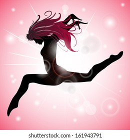 Silhouette of Jumping Girl with Pink reflections