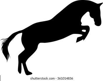 Silhouette of jumping horse