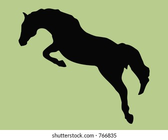 Silhouette of a Jumping Horse.