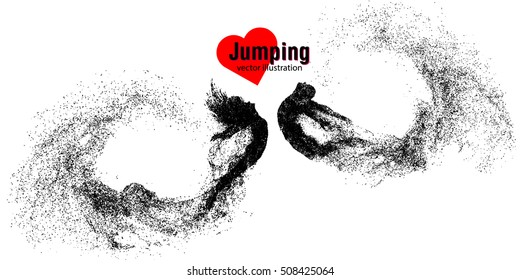 Silhouette of a jumping man and girl from particles Text on a separate layer, color can be changed in one click.Jumping man and girl Similar vector can be found in the portfolio Thank you for watching