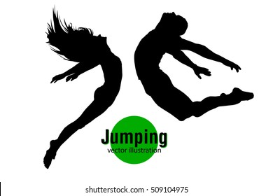 Silhouette of a jumping man and girl. Text on a separate layer, color can be changed in one click. Jumping man and girl. Similar vector can be found in the portfolio. Thank you for watching