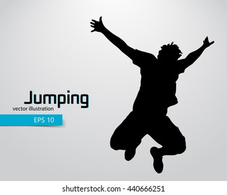 Silhouette of a jumping man. Text and background on a separate layer, color can be changed in one click. Jumping man
