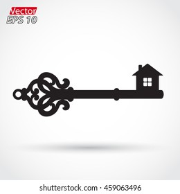 silhouette key with house shape / vector illustration
