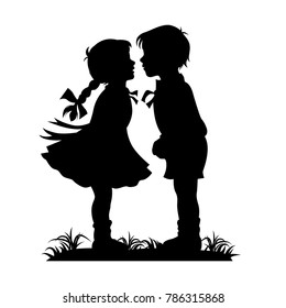 Silhouette of kids kissing