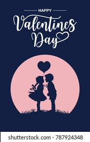 Silhouette of kids kissing on Valentine's day, Vector
