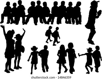 silhouette of kids in school and at party