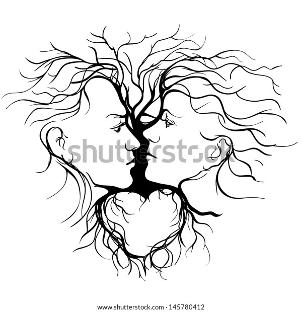 Business Card Template With Beauty Concept: Silhouette Kissing Couple Shaped By Tree Stock Vector