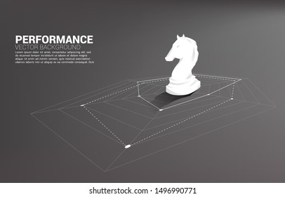 Silhouette of knight chess standing on spider chart. Concept of perfect recruitment. Human Resource. put the right man on the right job.