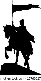 silhouette of a knight on horseback