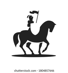 Silhouette of a knight riding on a horse with shield and banner.