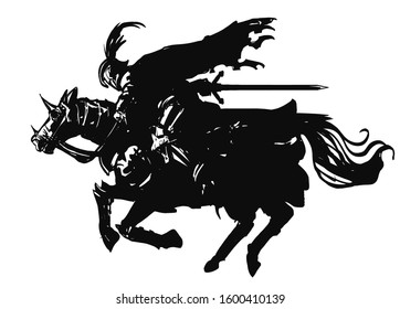 The silhouette of a knight rushing with great speed on horseback with a sword, in armor, a ragged cloak, and a helmet with a feather. 2D Illustration.