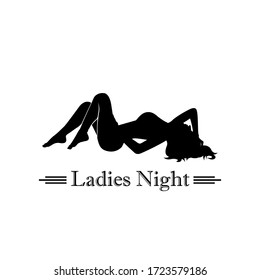 Silhouette lady night Sexy lie down pose on the floor model lady girl recline lazy