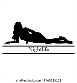 Silhouette lady night sexy lie down pose on the flour model lady girl recline lazy