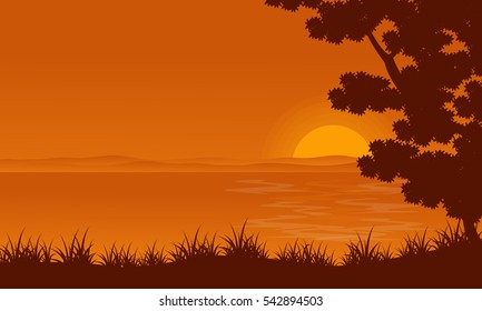 Silhouette of lake and tree landscape
