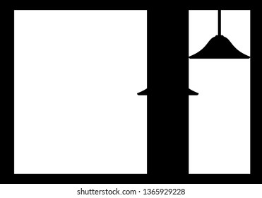 Silhouette of a lamp on a window background, vector illustration