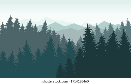 Silhouette landscape of many pine trees and beautiful sky