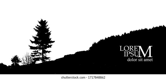 The silhouette of the landscape of nature. Vector illustration