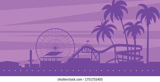 Silhouette landscape of Santa Monica beach with an amusement Park.