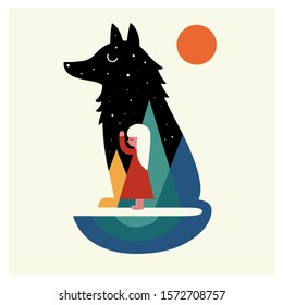 Silhouette of a large sleeping wolf. Colored mountains inside the figure. Little girl hugs a wolf.