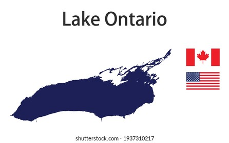silhouette of a large world lake, the Ontario, with the flags of the countries in which it is located vector illustration