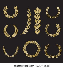 Silhouette laurel and oak wreaths in different  shapes - half circle, circle, branch in gold color
