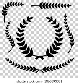silhouette of laurel wreath vector icon, at transparent effect background