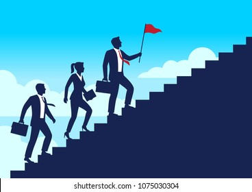 Silhouette leader businessman and team walking up staircases to the top of goal, Leadership teamwork business concept growth and the path to success, Flat design vector illustration